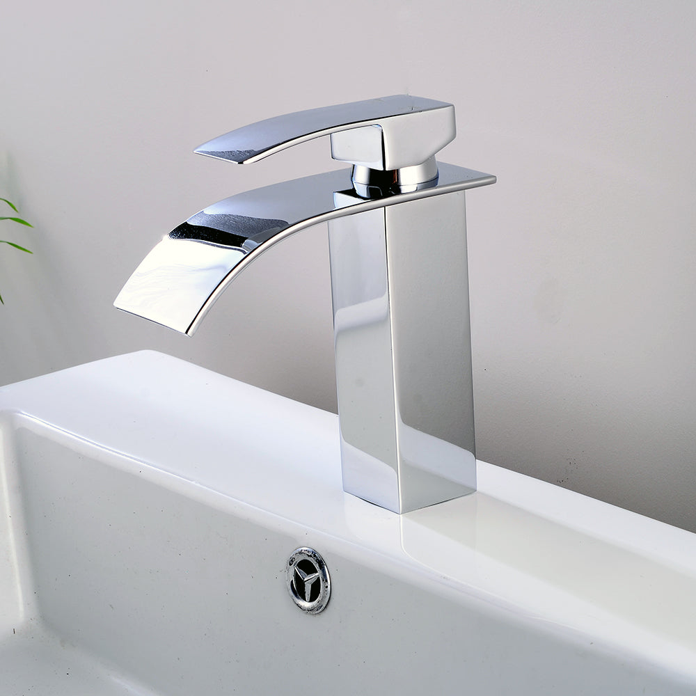 Single Handle Waterfall Spout Chrome Bath Basin Sink Faucet Mixer Tap Bright Silver | 37939158