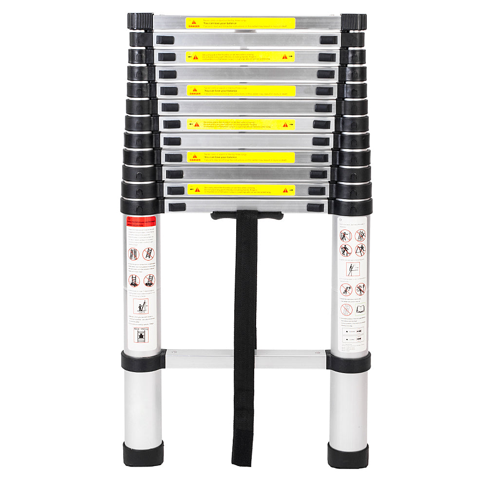 Single Side Extension 12-Step Aluminum Stretchable Ladder Black & Silver | 47800362