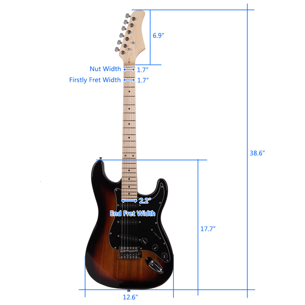 ST Stylish Electric Guitar with Black Pickguard Golden | 96758390