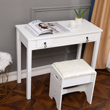 [FCH] Flip Single Mirror Double Drawers Straight Feet Dresser White | 53998961