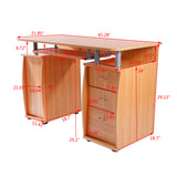 15mm MDF Portable 1pc Door with 3pcs Drawers Computer Desk Wood Color  | 61085732