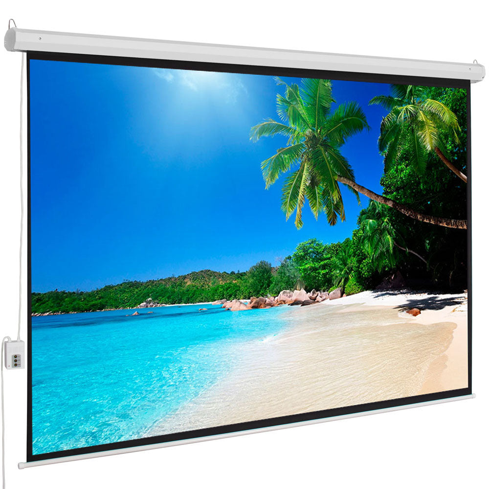"100"" 4:3 80"" x 60"" Viewing Area Motorized Projector Screen with Remote Control Matte White 