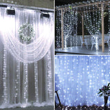 18M x 3M 1800-LED Warm White Light Romantic Christmas Wedding Outdoor Decoration Curtain String Light US Standard White ZA000939 | 45097893