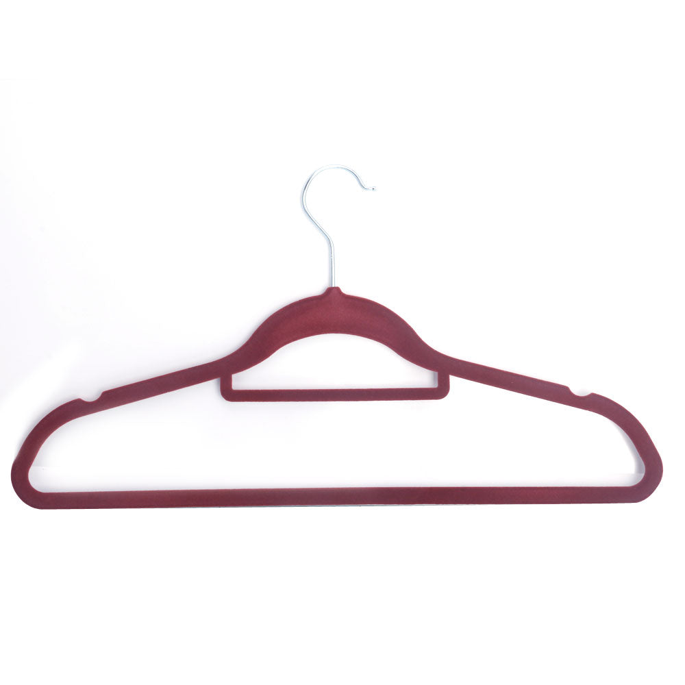 10pcs 45*0.5*24.5 Plastic Flocking Clothes Hangers with Rail Wine Red | 51367329