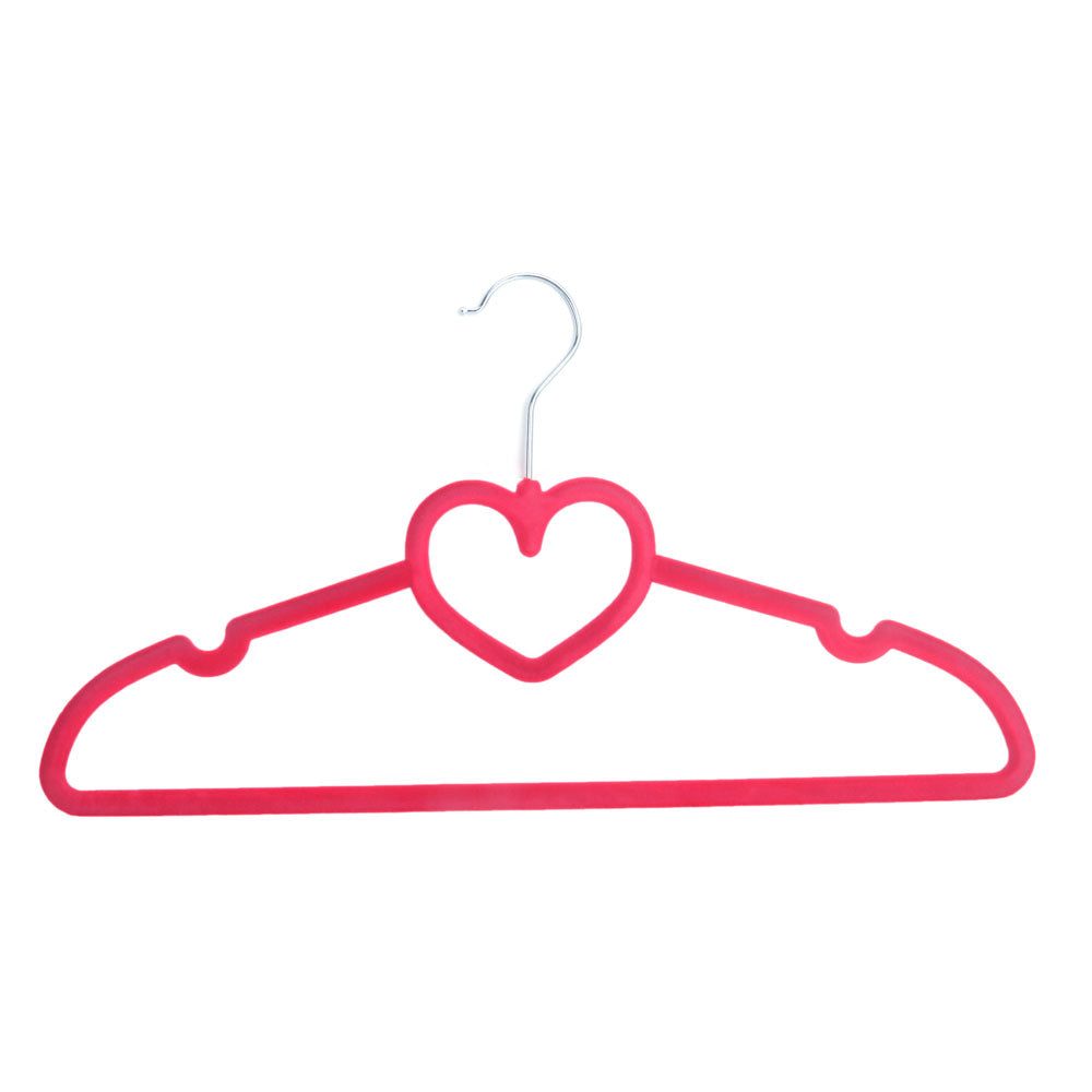 10pcs 42*23*0.5 Heart Style Plastic Flocking Clothes Hangers Rose Red | 06704838