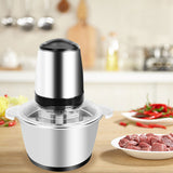 110V 300W Portable Electric Home Use Stainless Steel One-key Meat Grinder 2L Stainless Steel Cup Sil | 99202590