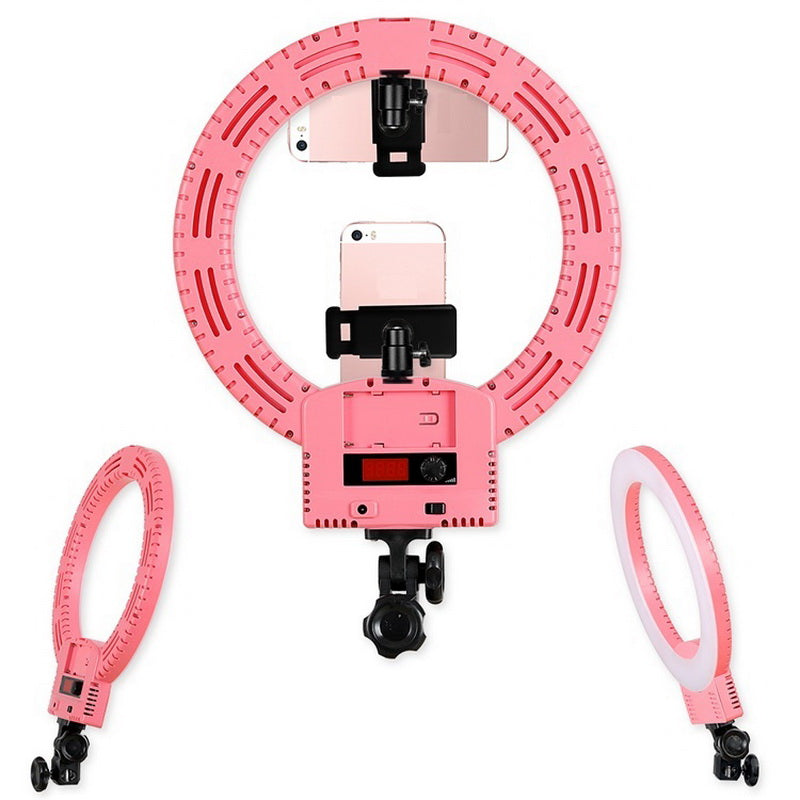 "12"" Upgrade Ultra-thin Infinity Dimming Double Color Temperature LED Ring Lamp Pink 