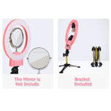 "12"" Upgrade Ultra-thin Infinity Dimming Double Color Temperature LED Ring Lamp and Tabletop Tripod US Standard Pink 