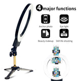 "12"" Upgrade Ultra-thin Infinity Dimming Double Color Temperature LED Ring Lamp and Tabletop Tripod US Standard Black 