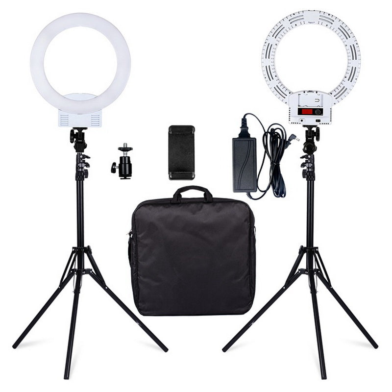 "12"" LED Ring Lights and 2m Light Stands US Standard White 