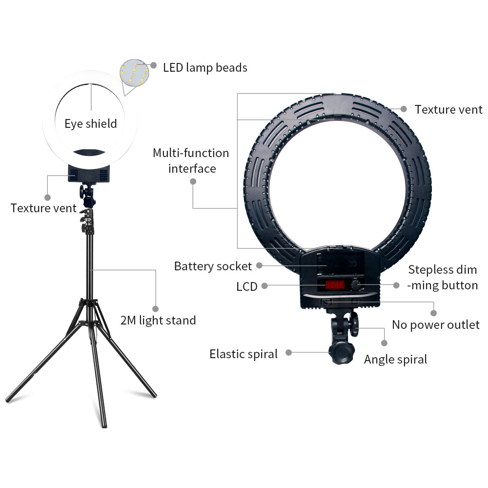 "12"" LED Ring Lights and 2m Light Stands US Standard Black 