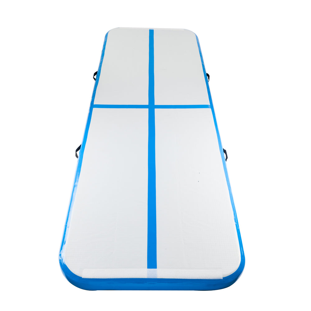 10' x 3.3' Inflatable Gymnastic Mat Air Track Tumbling Mat with Pump Air Floor for Home Use, Beach, Park and Water Blue & Gray | 37456647