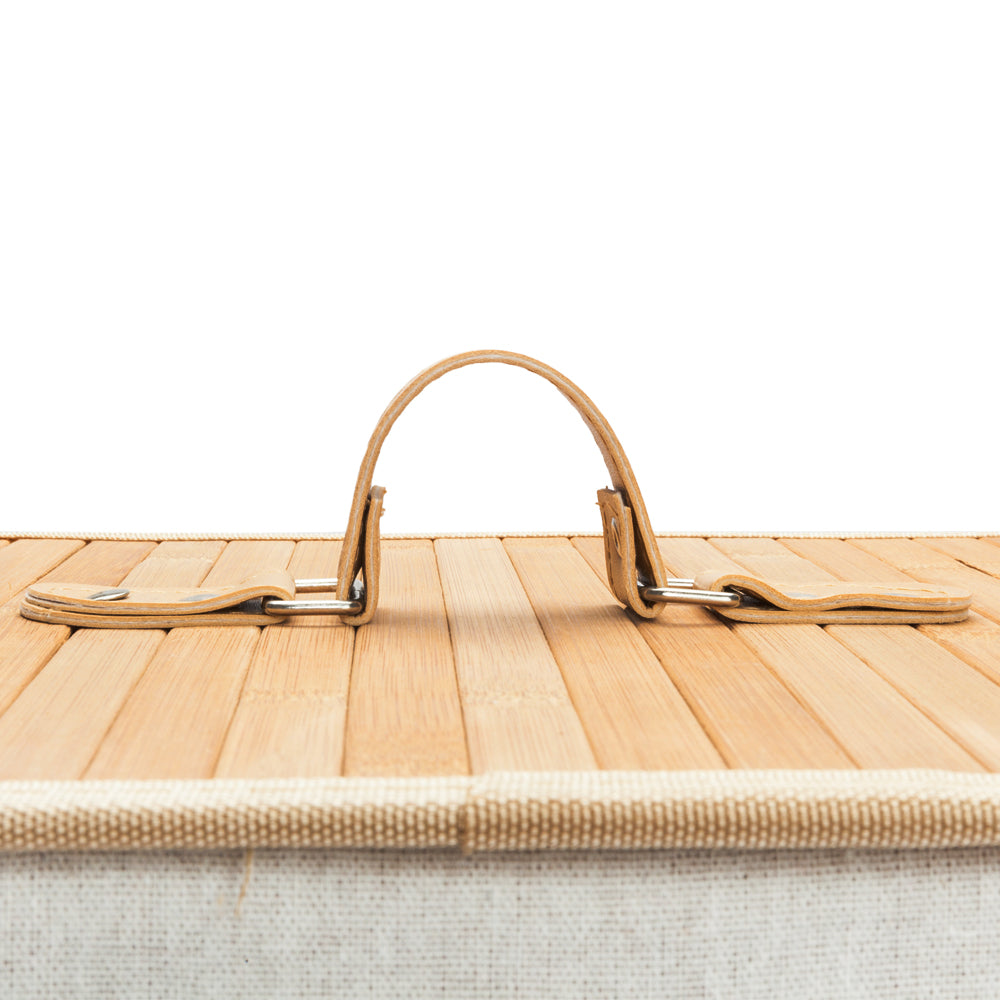 Single Lattice Bamboo Folding Basket Body with Cover Wood Color | 99535541