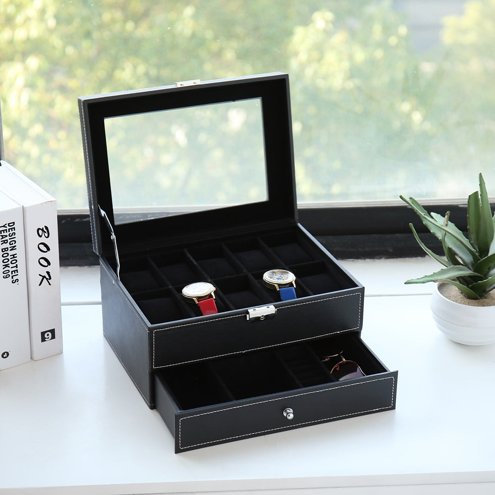 10 Slots Watch Box Mens Watch Organizer Lockable Jewelry Display Case with Real Glass Top Faux Leather Black | 54189971