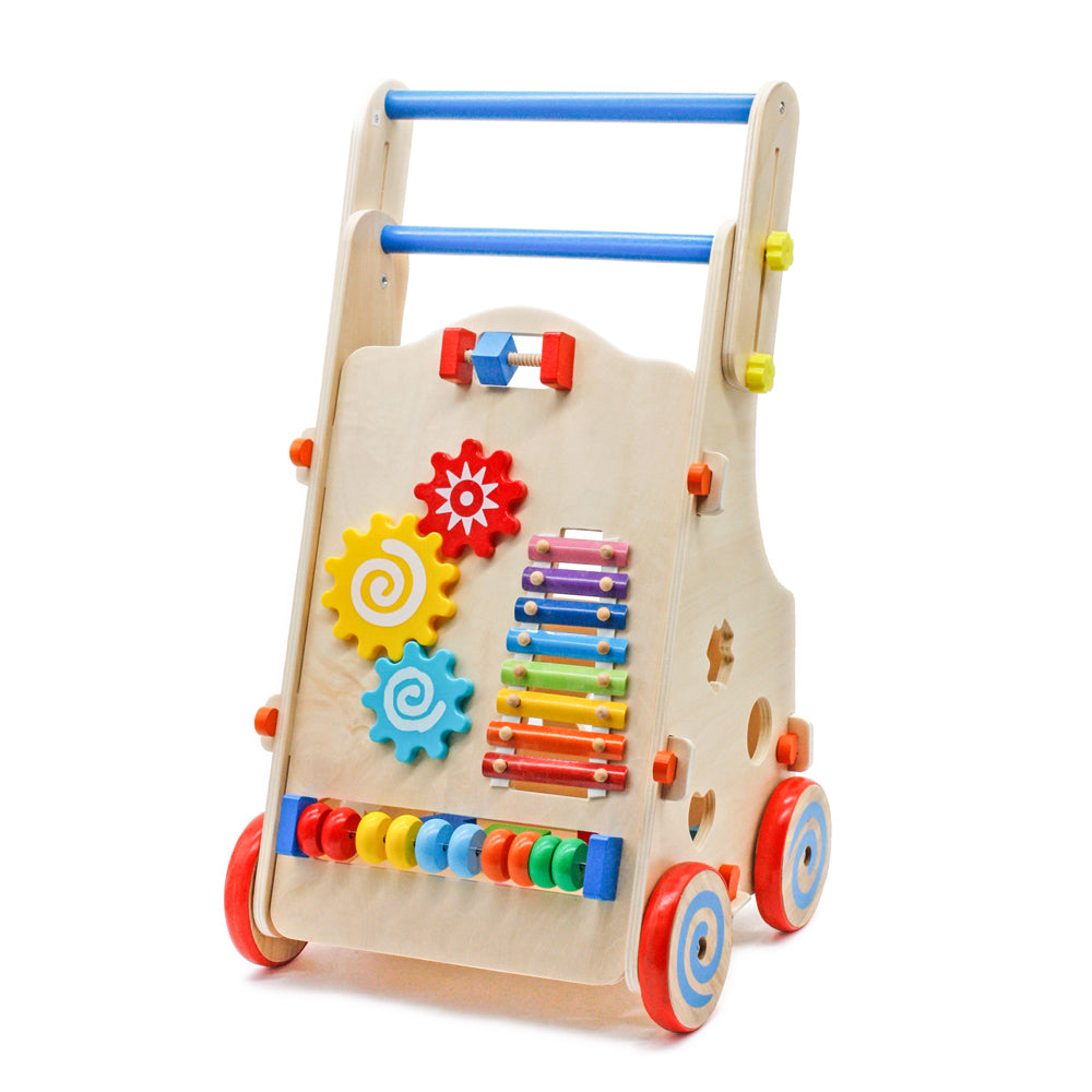 Adjustable Wooden Baby Walker Toddler Toys with Multiple Activity Toys Center | 49086721