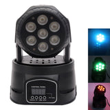 80W 7-RGBW LED Auto / Voice Control DMX512 Mini Moving Head Stage Lamp (AC 110-240V) Black | 74397227
