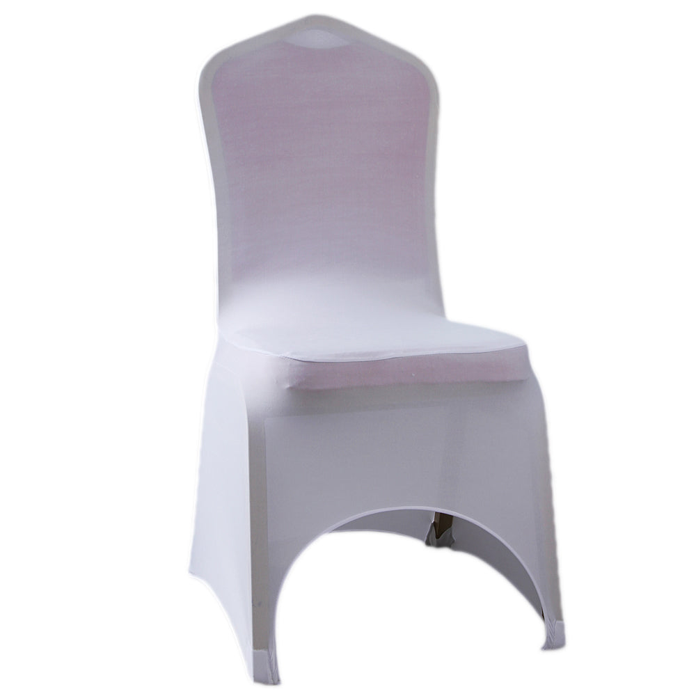 100 pcs 95% Polyester Fiber & 5% Spandex Chair Covers with Front Arch White | 52379966