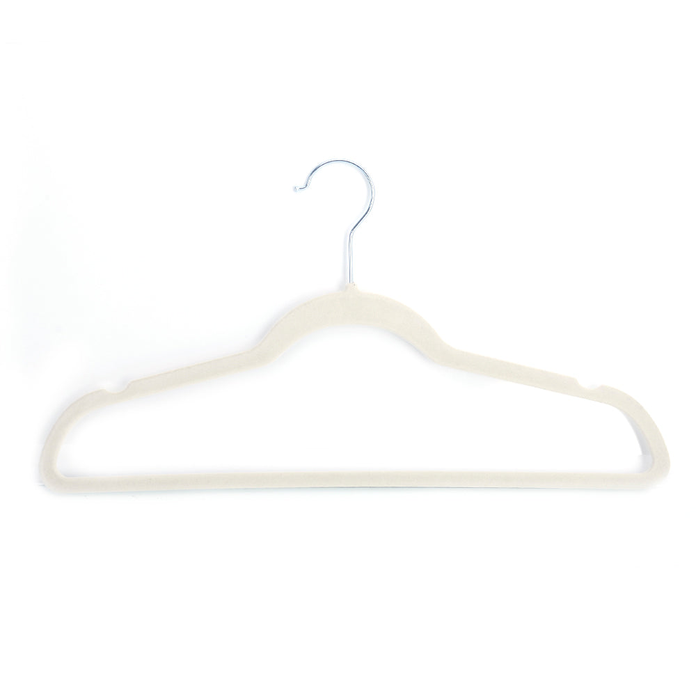 10pcs 45*0.5*24.5 Plastic Flocking Clothes Hangers Ivory White | 04796363