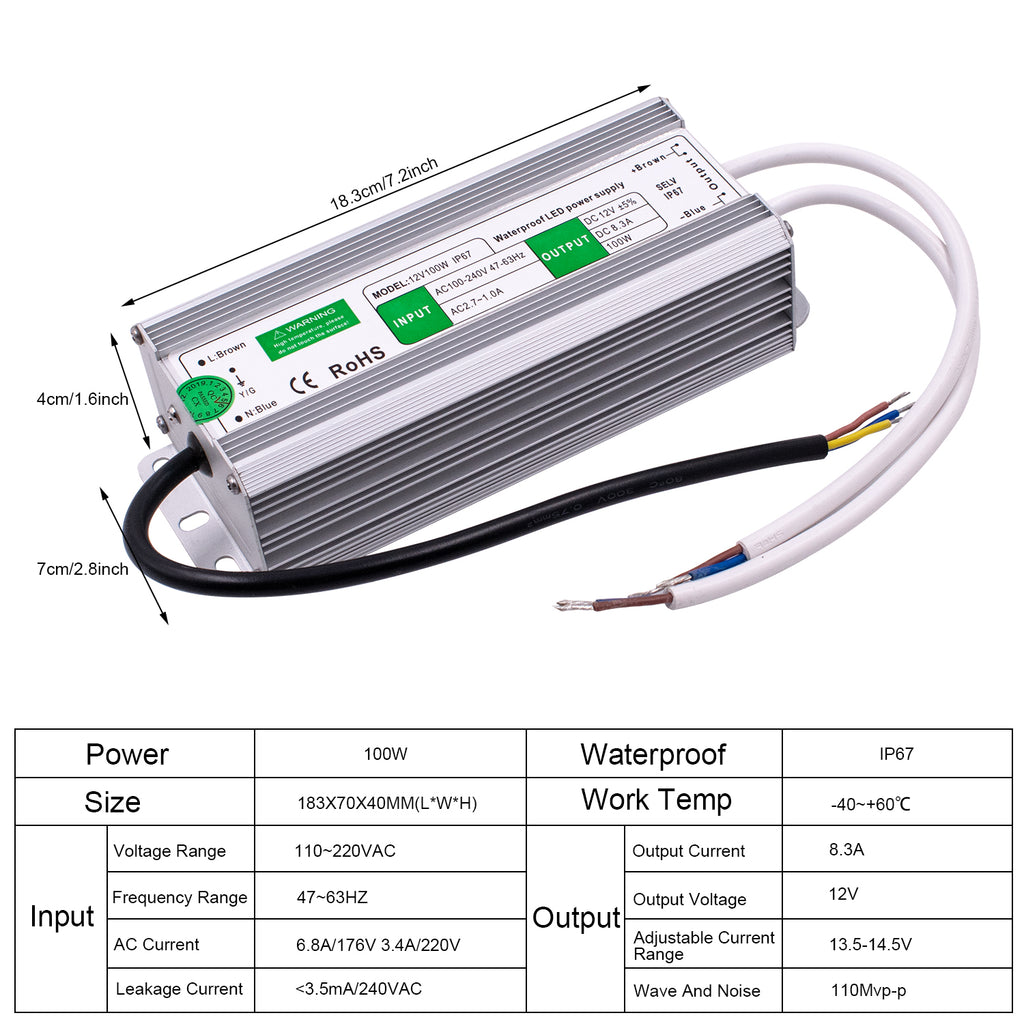 12V 100W FS-100-12 Waterproof Switching Power Supply | 75966263