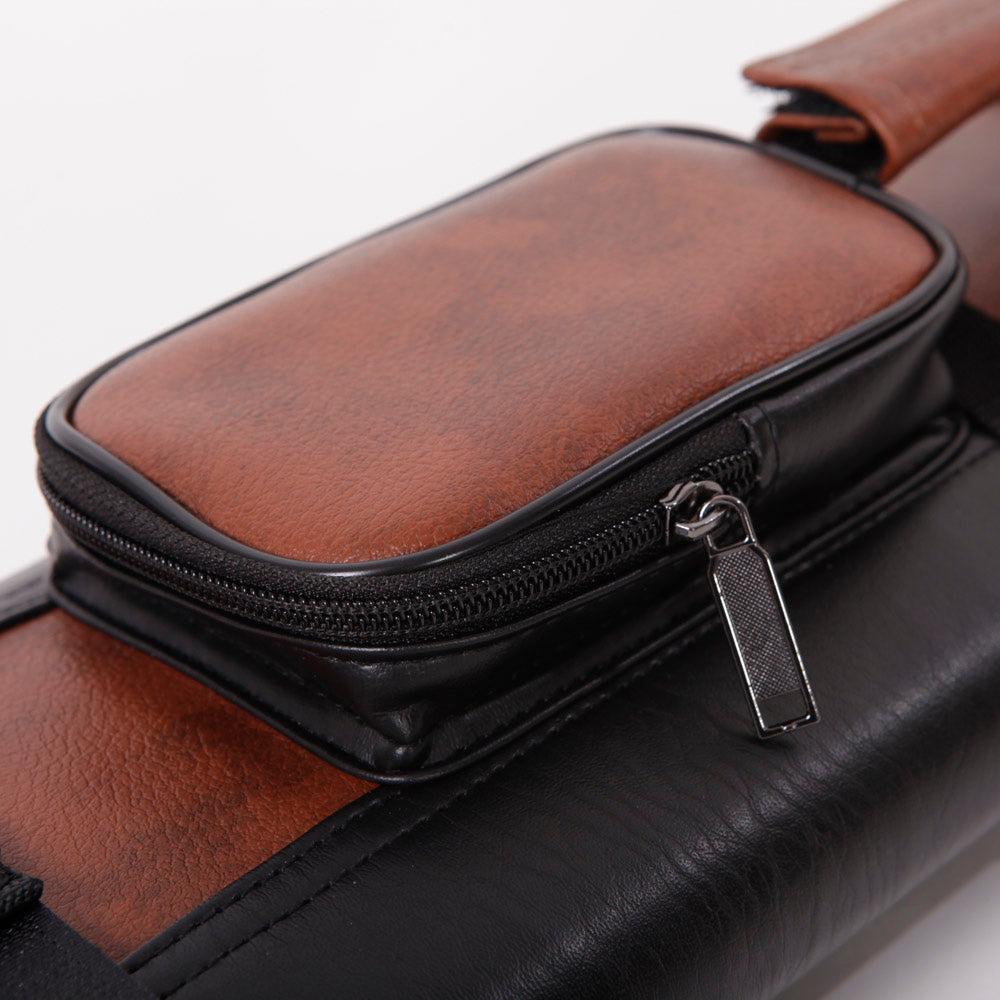 1/2 4-Hole Imitated Leather Pool Cue Case Black & Brown | 31451225