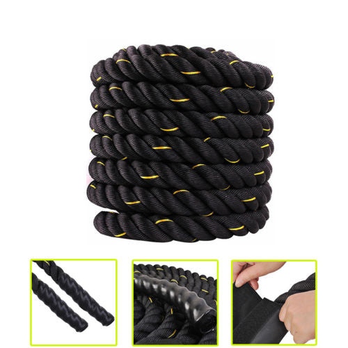 "1.5"" x 30ft Professional Lightweight Fitness Rope Black & Golden Edge 