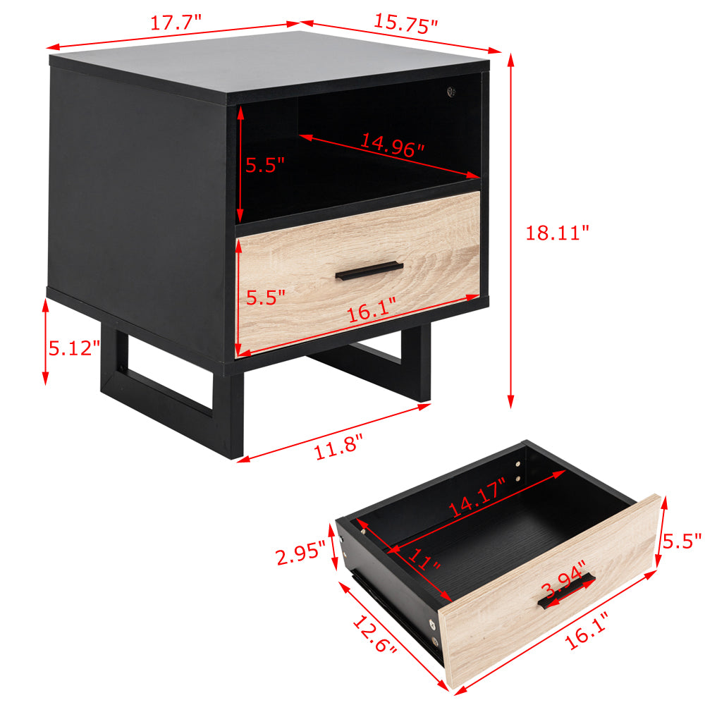 1 Drawer Two-tier Bedside Cabinet Night Table Black | 36295742