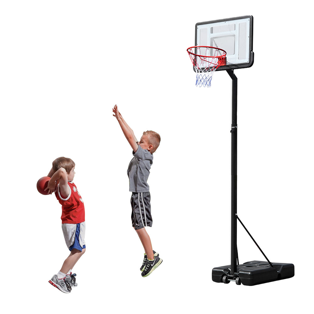 [HY] HY-B07N Portable Removable Basketball System Basketball Hoop Teenager PVC Transparent Backboard with 2.1m-3.05m Adjustable-Height Pole Maximum Applicable 7# Ball | 51873655