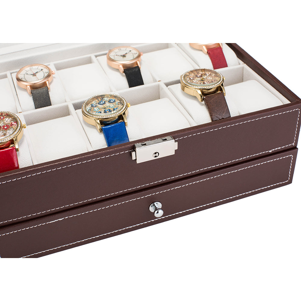 12 Slots Watch Box Mens Watch Organizer Lockable Jewelry Display Case with Real Glass Top Faux Leather Brow | 87168350