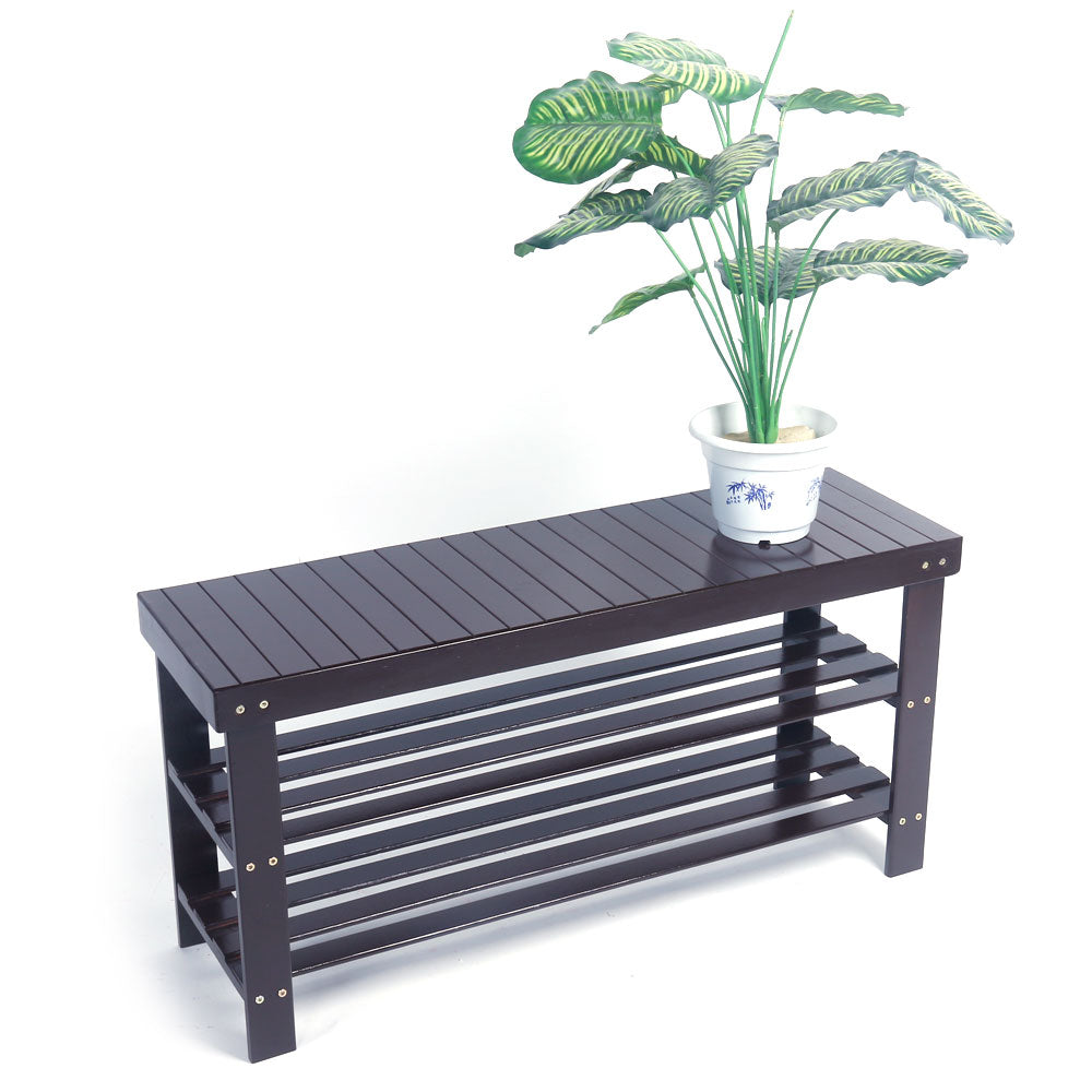 90cm Strip Pattern 3 Tiers Bamboo Stool Shoe Rack Coffee | 43428147