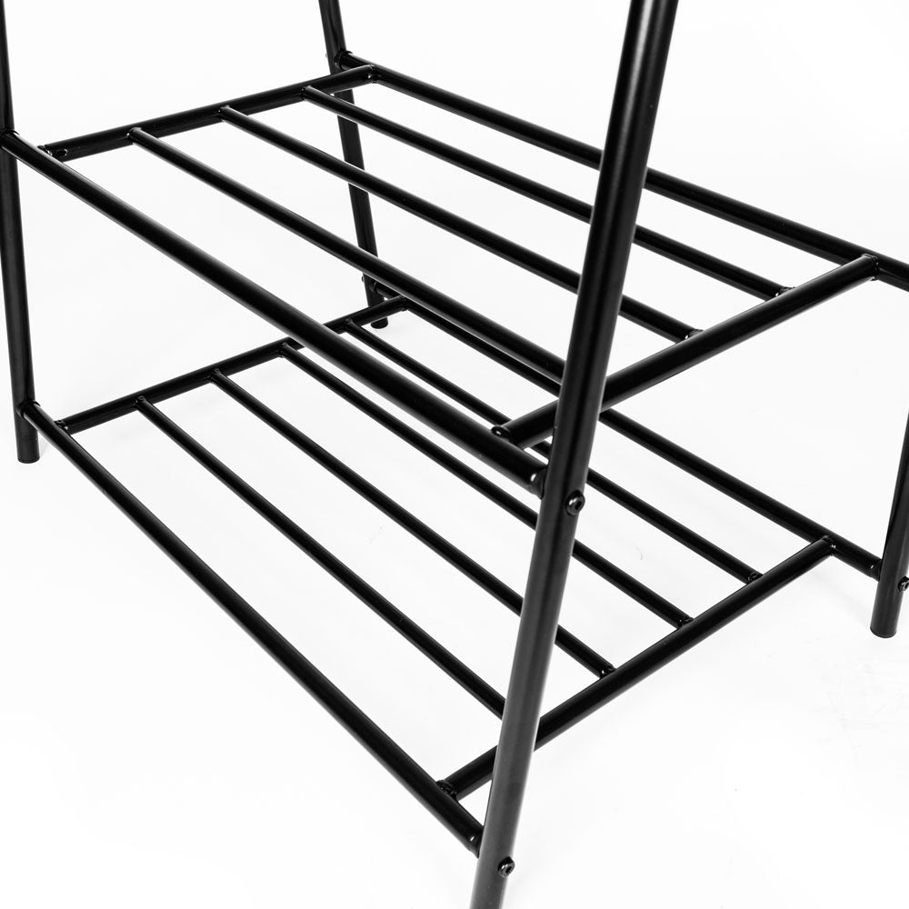 Two-tier Garment Rack Metal Clothes Coat Shoe Storage Shelf Black  | 93005625