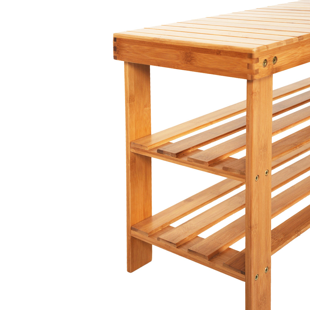 90cm Strip Pattern Tiers Bamboo Stool Shoe Rack with Boots Compartment Wood Color | 60137286