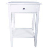 Two-layer Bedside Table Coffee Table with Drawer White | 57160616