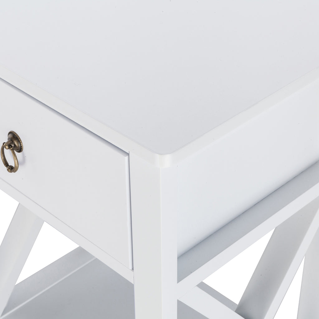 Side Intersection Style Bedside Table Coffee Table with Two-layer Drawer White | 90294834