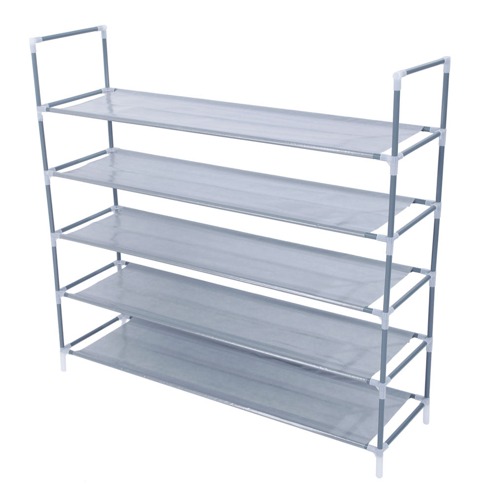Simple Assembly 5 Tiers Non-woven Fabric Shoe Rack with Handle Gray | 18108324