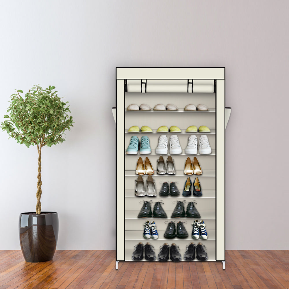 10 Tiers Shoe Rack with Dustproof Cover Closet Shoe Storage Cabinet Organizer Beige | 94352384