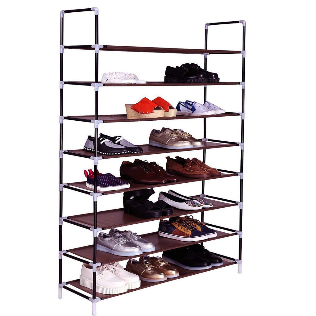 100cm Ultra Large Capacity 8 Layers Non-woven Fabrics & Steel Shoe Rack Dark Brown | 03295992