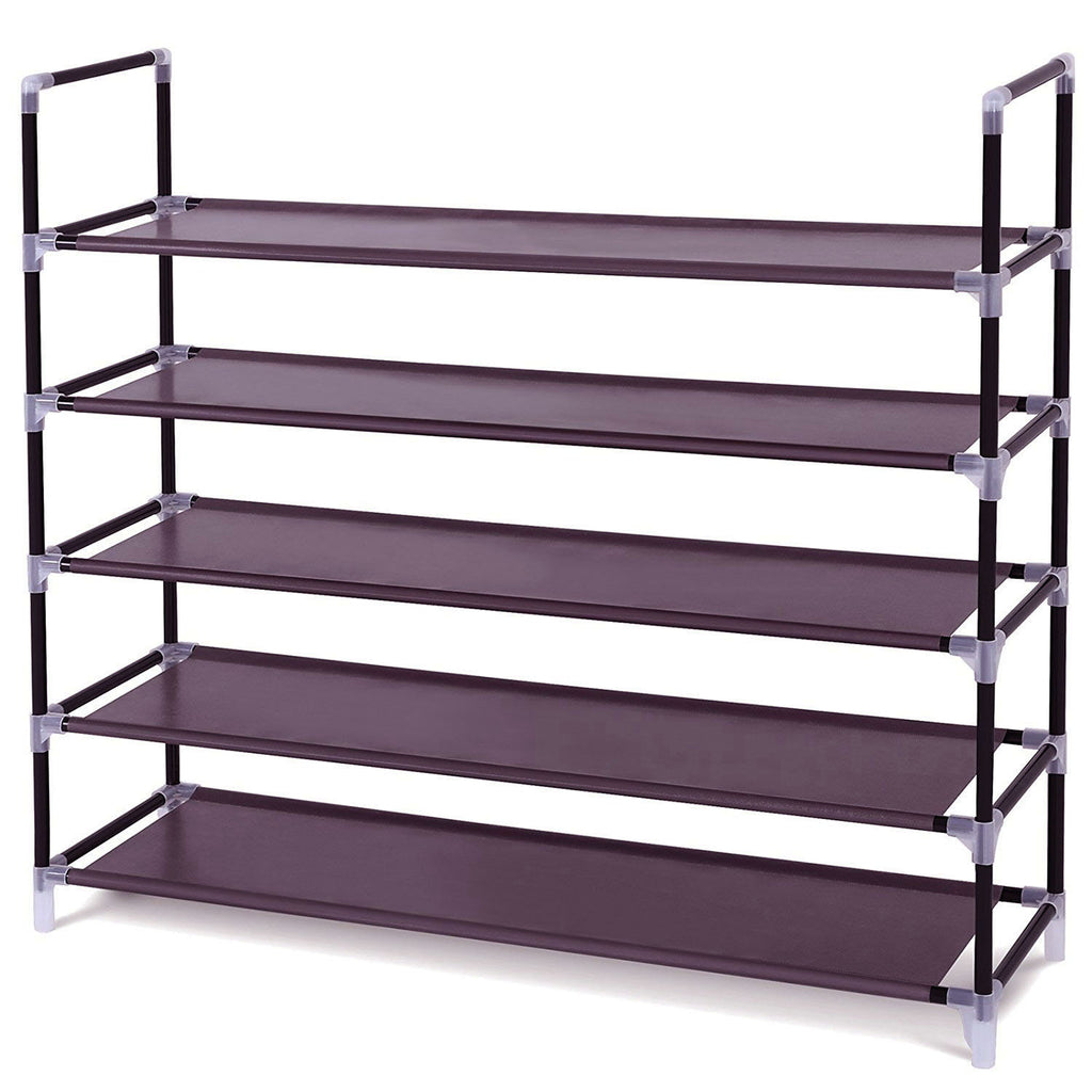 Simple Assembly 5 Tiers Non-woven Fabric Shoe Rack with Handle Dark Brown | 19422591