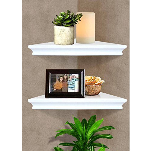 Set of 2 Floating Corner Wall Shelf Home Decor Furniture Shelves Storage Modern White | 00681023