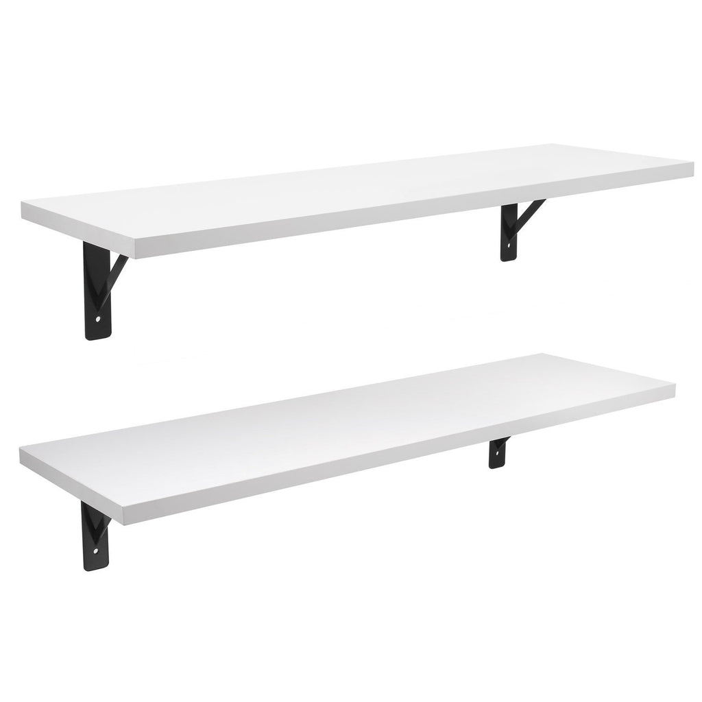2 Display Ledge Shelf Floating Shelves Wall Mounted with Bracket for Pictures and Frames Modern Home Decorative White | 20904565