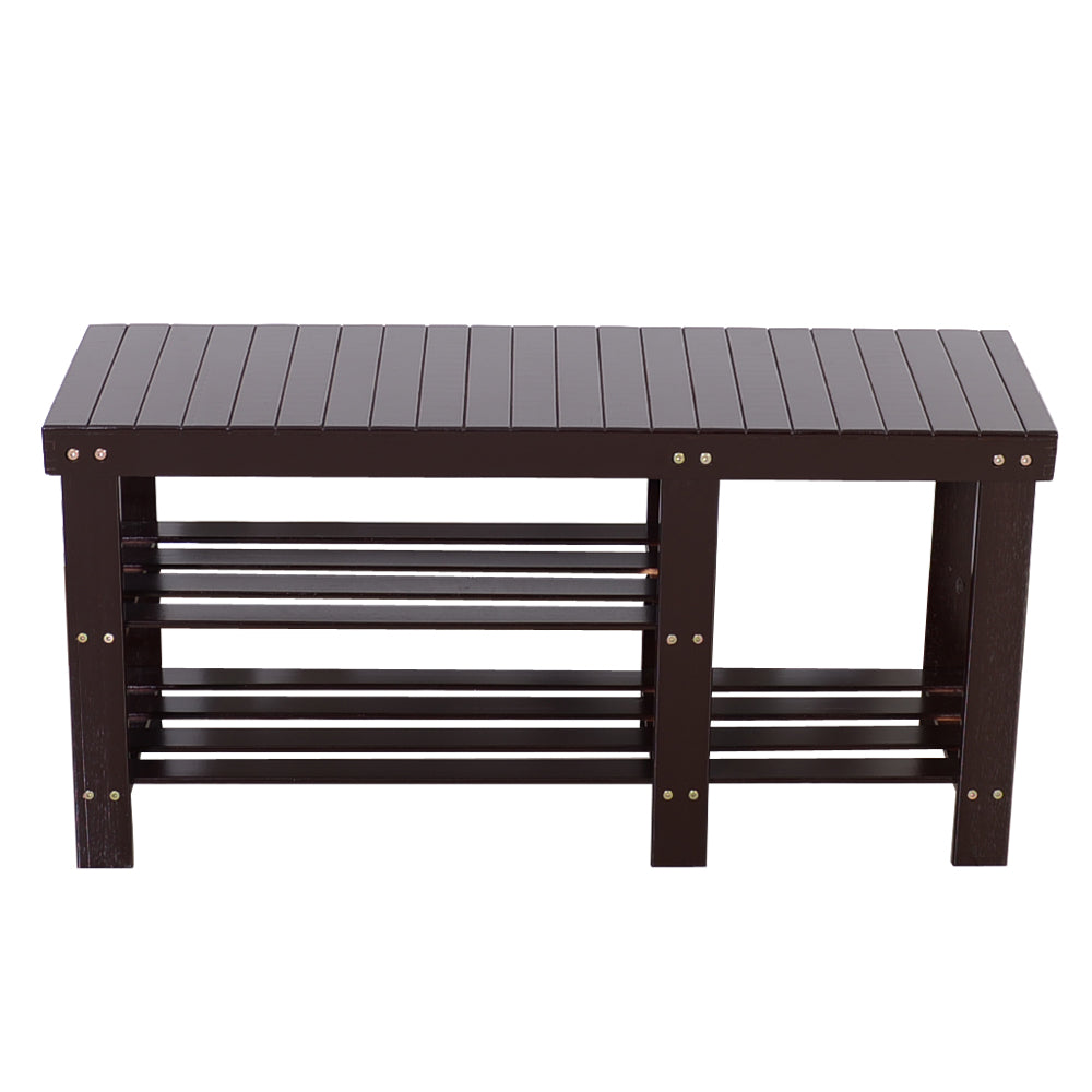 90cm Strip Type Bamboo Stool Shoe Rack with Boots Compartment Coffee | 83390243