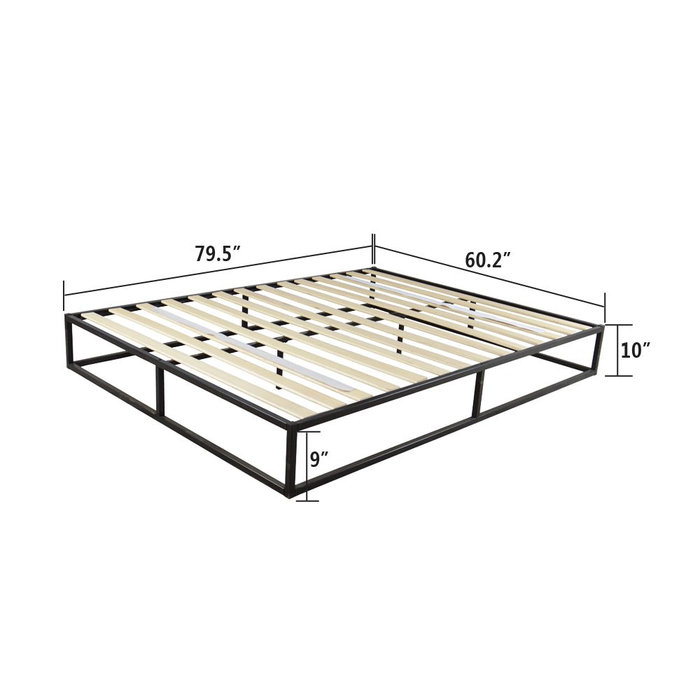 Simple Basic Iron Bed Queen Size Black | 72304201