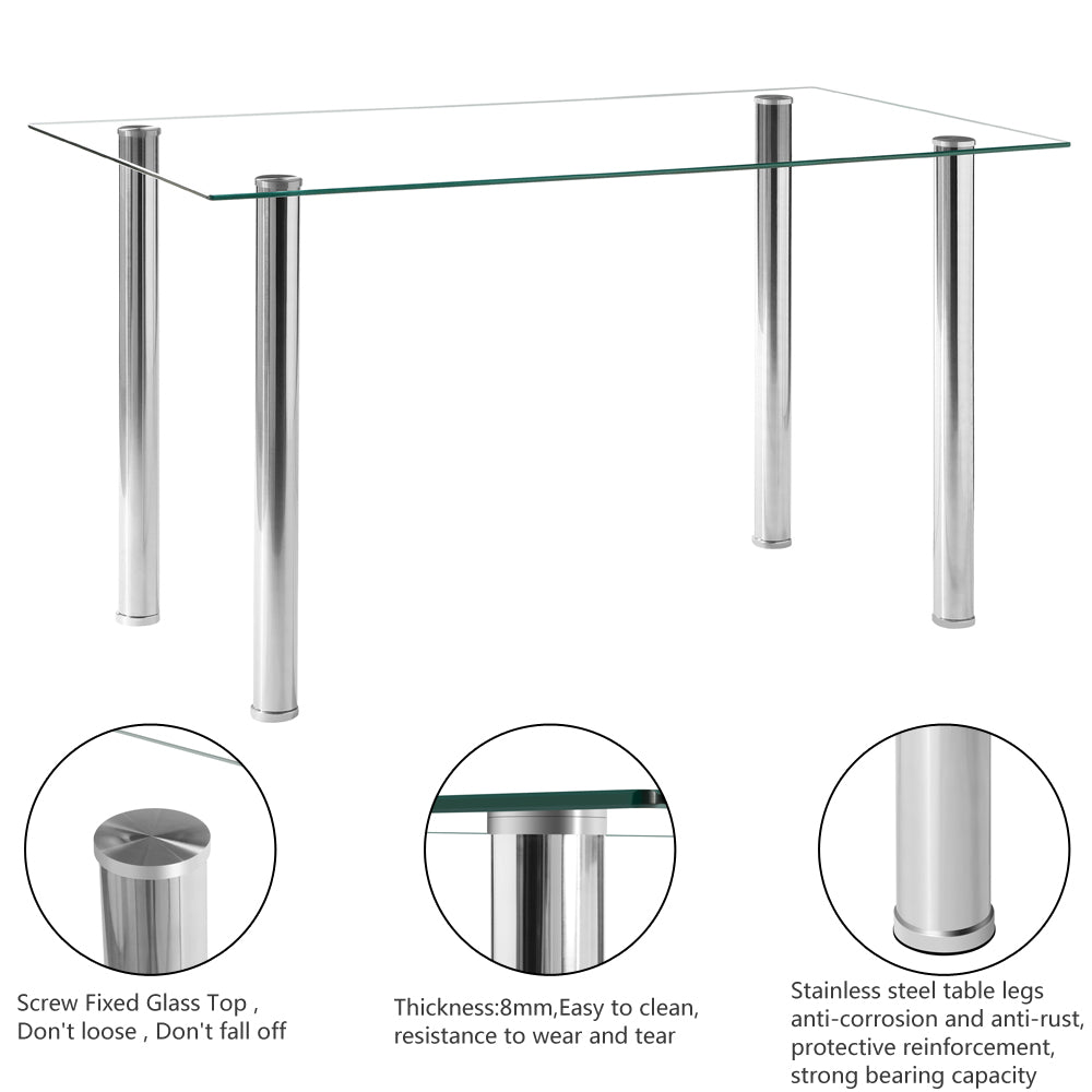 Simple Assembled Transparent Glass & Iron Dinner Table | 41827204