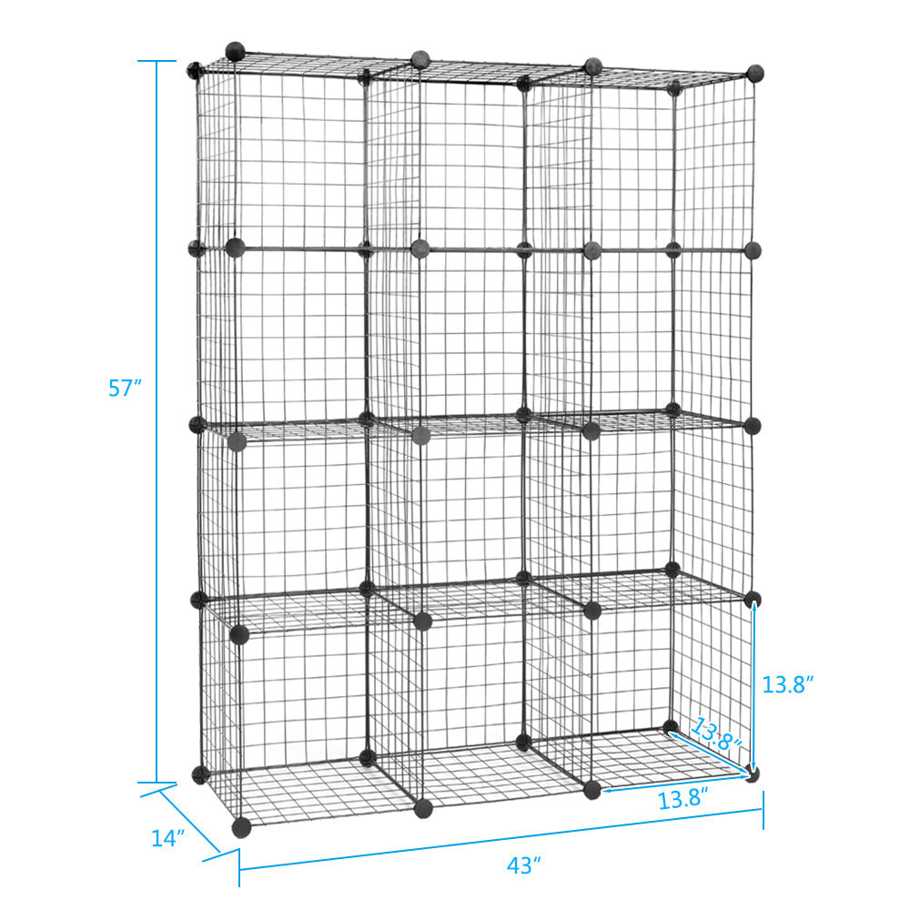 12-Cube Organizer Cube Storage Storage Shelves Wire Cube Storage Origami Shelves Metal Grid Multifunction Shelving Unit Modular Cubbies Organizer Bookcase | 82647882