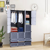 18-Cube DIY Modular Cubby Shelving Storage Organizer Extra Large Wardrobe with Clothes Rod | 11409873