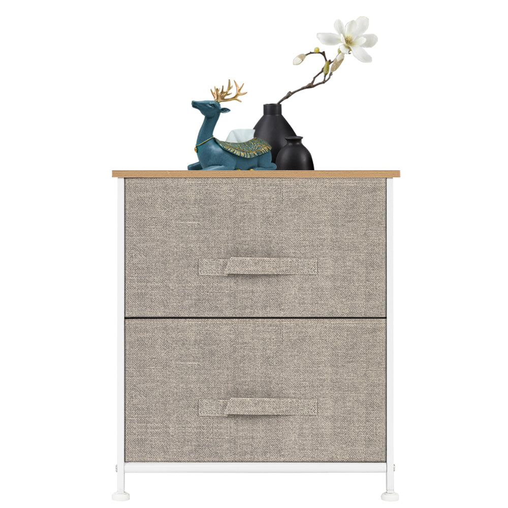 2 Drawers -Night Stand, End Table Storage Tower - Sturdy Steel Frame, Wood Top, Easy Pull Fabric Bins - Organizer Unit For Bedroom, Hallway, Entryway, Closets - Textured Print, Linen / Natural | 82371584