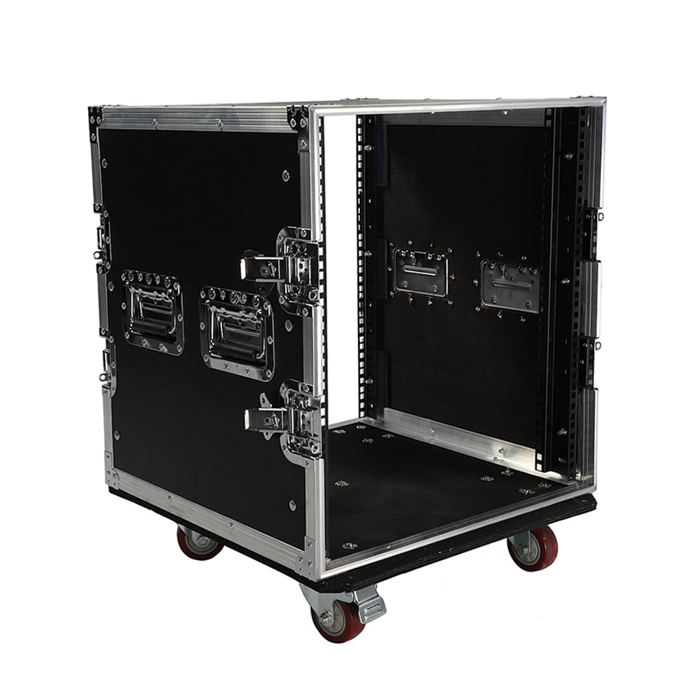 "19"" 12U Single Layer Double Door DJ Equipment Cabinet Black & Silver 