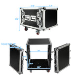 "19"" 8U Single Layer Double Door DJ Equipment Cabinet Black & Silver 