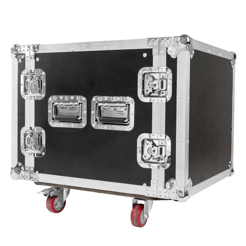 "19"" 10U Single Layer Double Door DJ Equipment Cabinet Black & Silver 