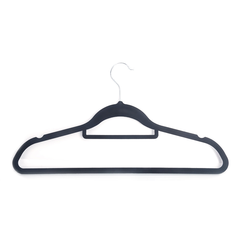 100pcs 45*0.5*24.5 Plastic Flocking Clothes Hangers with Rail Black | 32071430
