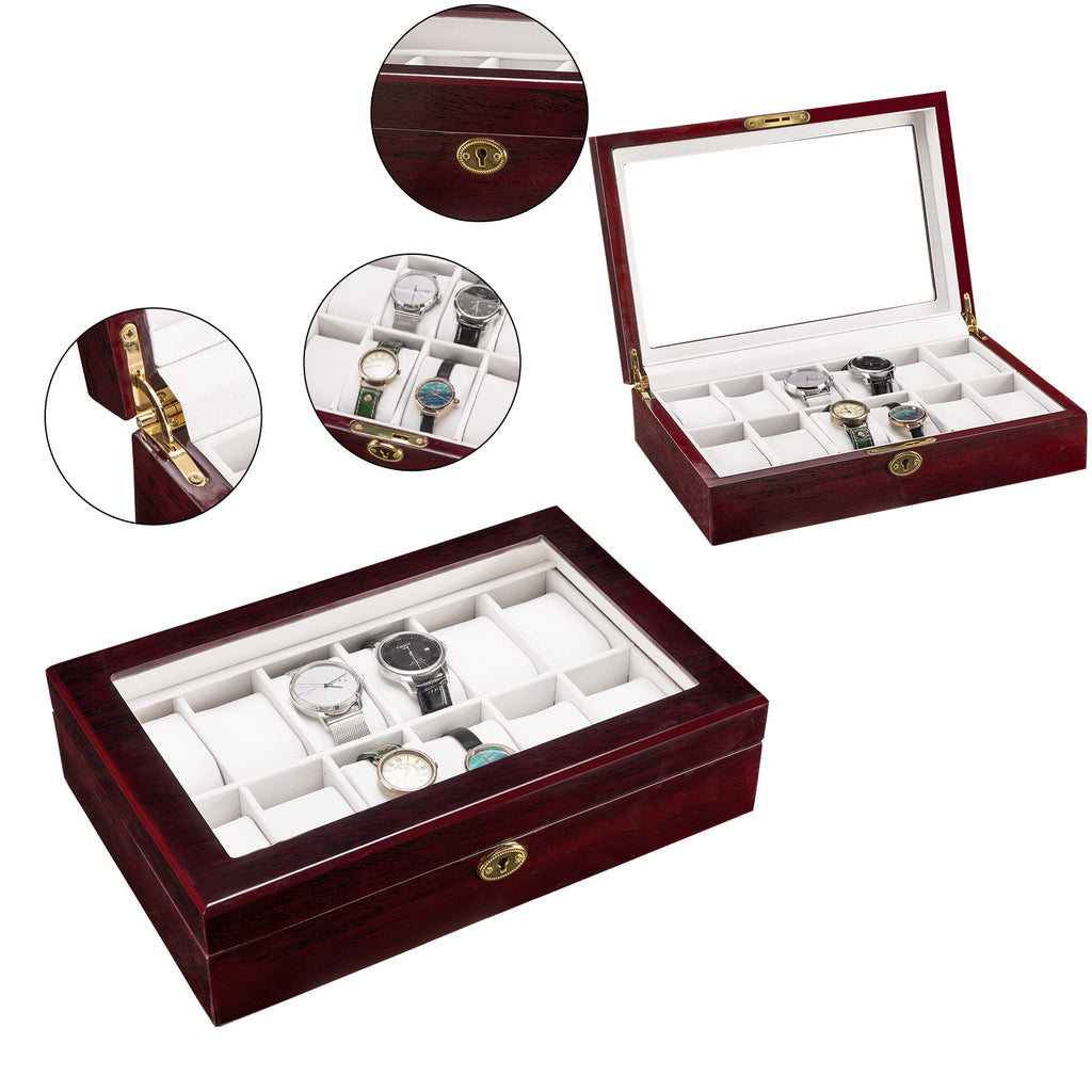 12 Slots Wooden Case Watch Display Case Glass Top Jewelry Storage Organizer Gifts | 71431650